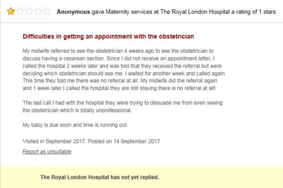 17-Sep-14 Review of Royal Hospital under Barts Trust - maternal request refused and delayed