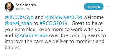 19-Jun-17 RCOG2019 twitter tweet Eddie Morris Neel Shah - great
