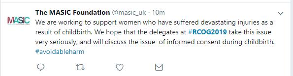 19-Jun-17 RCOG2019 twitter tweet MASIC - hope take informed consent seriously